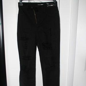 Fashion Nova: Black High-Waist Ripped Denim Jeans